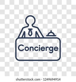 Concierge icon. Trendy linear Concierge logo concept on transparent background from Professions collection