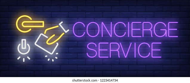 Concierge service neon sign. Glowing inscription with door handle, hand with electronic key on dark blue brick background. Can be used for concierge service, hospitality, advertisement