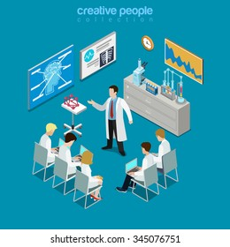 Concilium professional doctor group consultation flat 3d isometry isometric concept web vector illustration. Hospital meeting room session stands laboratory equipment. Creative people collection.