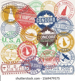 Concord New Hampshire Set of Stamps. Travel Stamp. Made In Product. Design Seals Old Style Insignia.