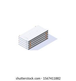Concrete balcony slab icon in isometric view. Stack of cement panels. Building materials storage. Vector illustration isolated on a white background in flat style.