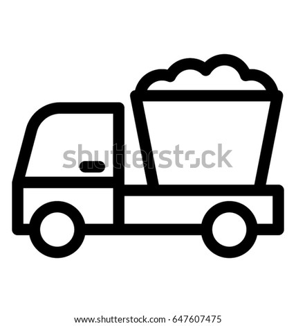 Concrete Buggy Line Vector Icon Stock Vector (Royalty Free