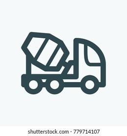 Concrete cement mixer truck vector icon
