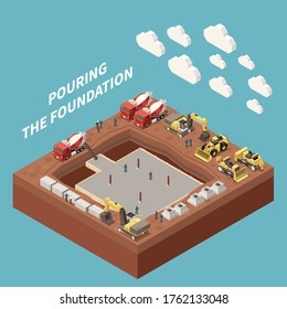 Concrete cement production isometric and colored concept with pouring the foundation headline vector illustration