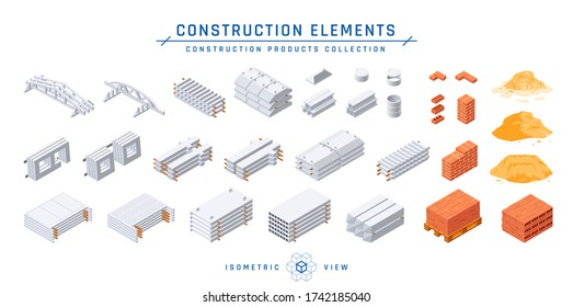 Concrete and construction elements set. Precast cement items for modular buildings, isometric view. Vector illustration isolated on a white background in flat style.