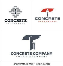 Concrete logo design with brick spoon cement and plastering trowel brush art vector suitable for construction business real estate building repair