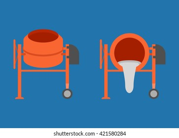 Concrete mixer icon, cement mixer vector, pouring cement