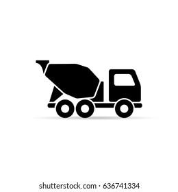 Concrete mixer icon, vector isolated simple mixer truck symbol.