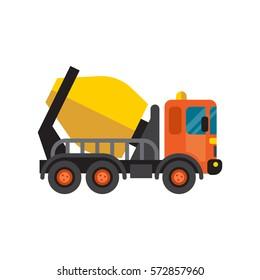 Concrete mixer truck cement industry equipment machine vector.