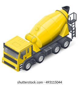 Concrete mixer truck isometric detailed icon vector graphic illustration design
