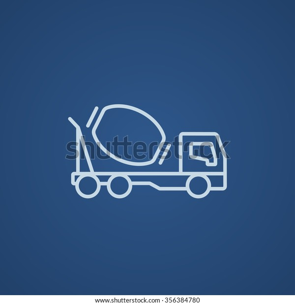 Concrete Mixer Truck Line Icon Web Stock Vector (Royalty