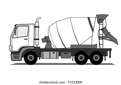 Concrete mixer truck vector