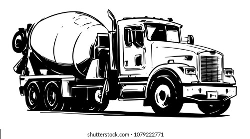 Concrete Mixer Truck. vector black and white illustration