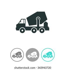 Concrete mixer truck vector icon.