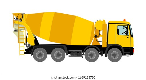 Concrete mixer truck vector illustration isolated on white background. Industrial material transportation. Pouring cement mixer on construction site. Building industrial tool. Heavy industry machine.