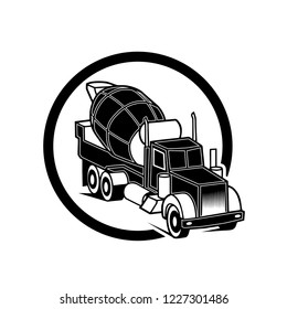 Concrete mixing truck vector. Flat design. Industrial transport. Construction machine. For construction theme illustrating