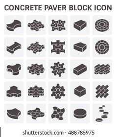 Concrete paver block or paver brick vector icon sets.