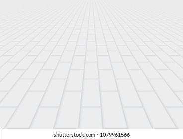 Concrete paver block pavement floor or brick vector background in perspective. Cement or stone material for outdoor garden by paving on ground to create seamless rectangle pattern of path, walkway.