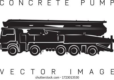 Concrete pump, stylized image, contour of the machine