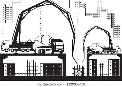 Concrete pump trucks on construction site - vector illustration