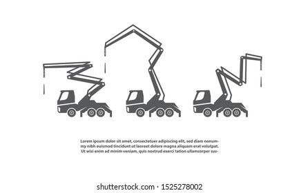 Concrete pump trucks set and different work positions.