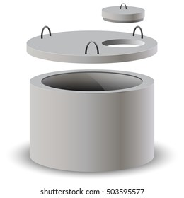 The concrete ring, slab with a hole and concrete cap. Concrete tube. Vector illustration.