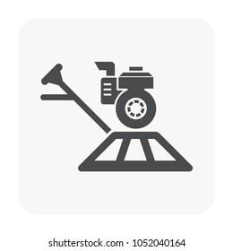 Concrete slab casting and equipment icon.