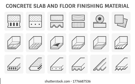 Concrete slab and floor finishing material such as wood, tile, pvc, vinyl and linoleum vector icon set design on white background.