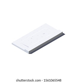 Concrete slab icon. Balcony panel in isometric view. Building materials for construction purposes. Vector illustration isolated on a white background in flat style.