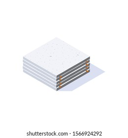 Concrete slab icon in isometric view. Stack of cement panels. Building materials storage. Vector illustration isolated on a white background in flat style.