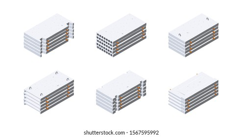 Concrete slab icons in isometric view. Stacks of cement panels. Building materials storage. Vector illustration isolated on a white background in flat style.