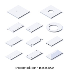 Concrete slab icons. Set of ferroconcrete units in isometric view. Building materials for construction purposes. Vector illustration isolated on a white background in flat style.