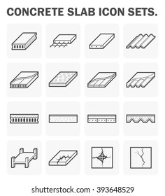 Concrete slab and material vector icon sets design.