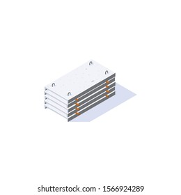 Concrete slabs icon. Stack of channel planks in isometric view. Building materials storage. Vector illustration isolated on a white background in flat style.