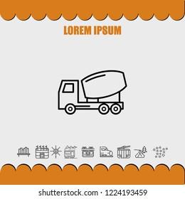 Concrete truck icon vector