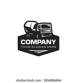 Concrete truck mixer logo. Construction cement mixer. Branding for construction, agent, heavy equipment, rent, sales, dealer. Isolated logo vector inspiration. Graphic design.