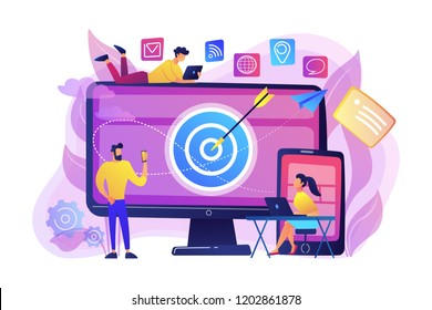 Concumers with devices get targeted ads and messages. Multi device targeting, reaching audience, cross-device marketing concept on white background. Bright vibrant violet vector isolated illustration