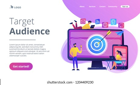 Concumers with devices get targeted ads and messages. Multi device targeting, reaching audience, cross-device marketing concept on white background. Website vibrant violet landing web page template.