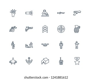 Condecoration, Militar Radio, Tent, naval, Jet, Gun, Radar, fighter plane, Soldiers and a weapon, Pistol, guerrilla outline vector icons from 20 set