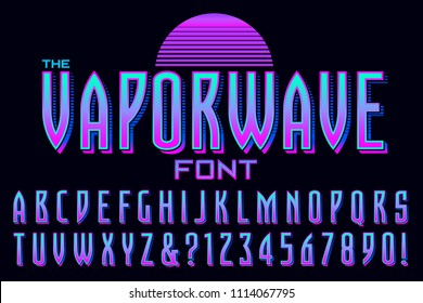 A condensed alphabet design in the style of vaporwave graphics.