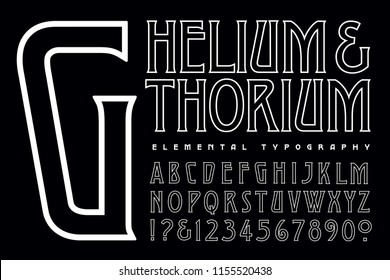 A condensed art deco style outline alphabet in simple white on black
