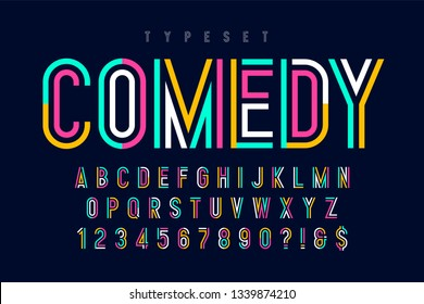 Condensed colorful display font design, alphabet and numbers. Color swatches control