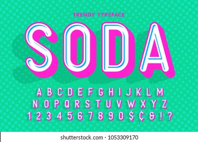 Condensed display font popart design, alphabet, letters and numbers. Swatch color control