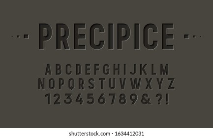 Condensed font with the effect of cut paper, engraving, and embossing. Vector illustration.
