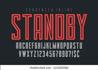 Condensed simple display font design, alphabet, typeface, letters and numbers, typography.