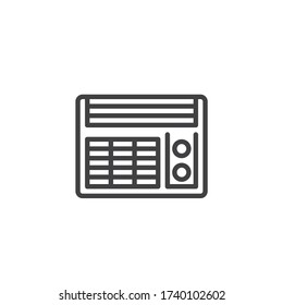 Conditioner heater line icon. linear style sign for mobile concept and web design. Electric heater fan outline vector icon. Symbol, logo illustration. Vector graphics
