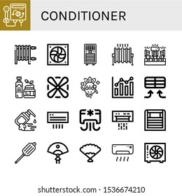conditioner icon set. Collection of Heater, Fan, Air conditioner, Heat, Fans, Moisturizer, Cool, Combination chart, Air conditioning, Air blower icons