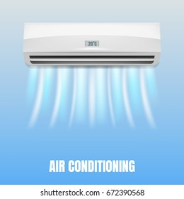 Conditioner. Realistic air conditioner with flows of cold air. Air conditioning concept illustration