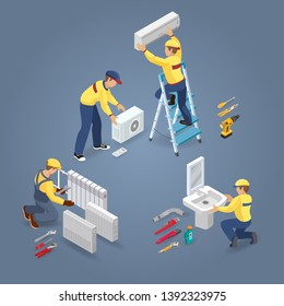 Conditioner service. Heating service. Plumber is installing washbasin. Isometric interior repairs icons. Worker and professional tools, radiators. Home interior renovation. Vector 3d illustration.