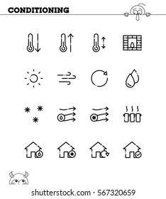 Conditioning flat icon set. Collection of high quality outline symbols for web design, mobile app. Conditioning vector thin line icons or logo.